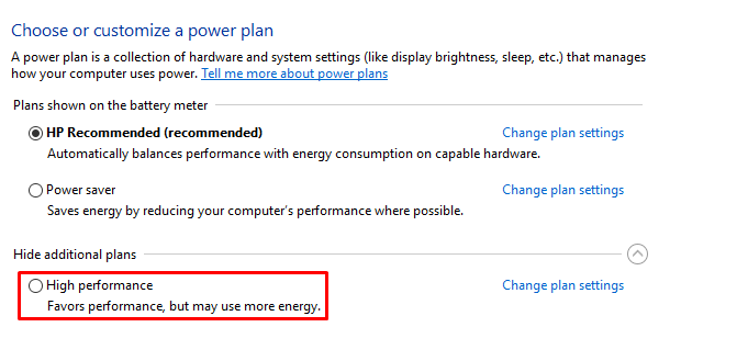 Increase speed of windows 10 by power options