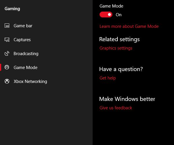 Game mode to improve windows 10 performance
