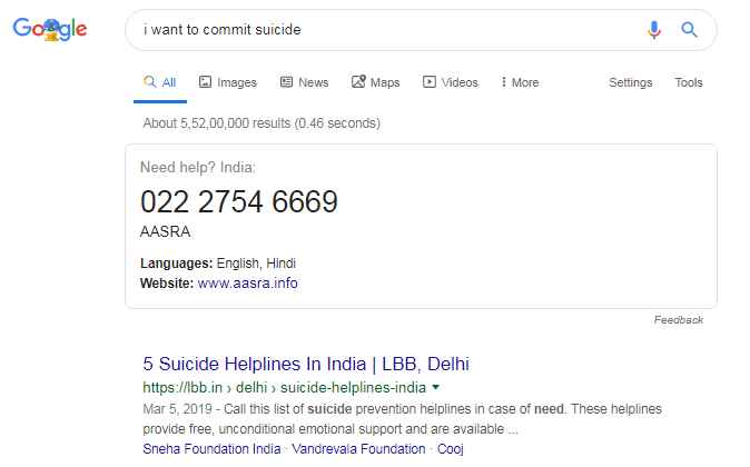 """I want to commit suicide"""" on the search bar of google you will find something like this."""